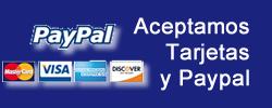 Aceptamos tarjetas de credito y paypal